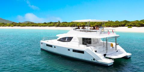 Group aboard powercat in the BVI