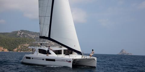 Athens Zea Moorings sailing catamaran