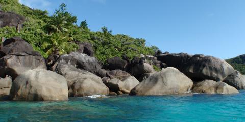 Seychelles beach rocks