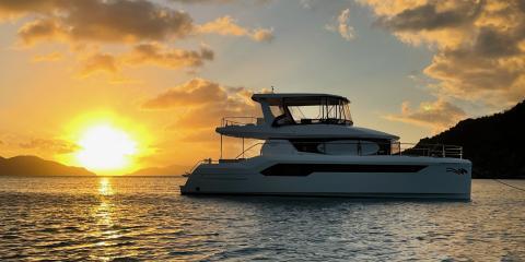 Sunset behind Moorings 534 Powercat