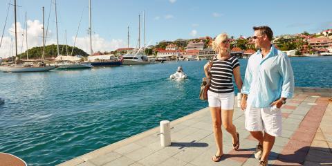 couple walking in the marina